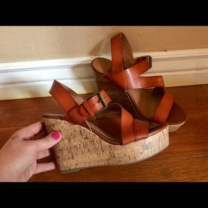 MOSSIMO Brown Cork Wedges US8/EUR38